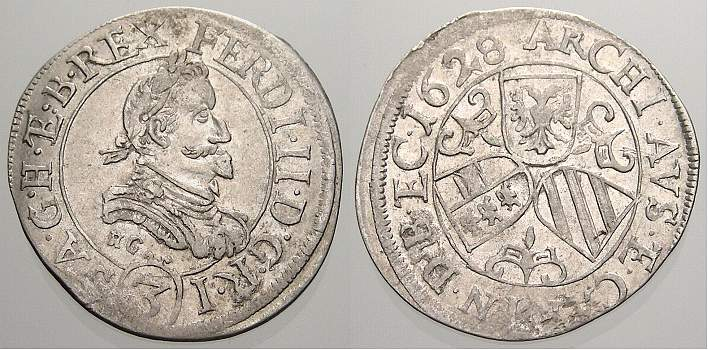 3 Kreuzer (Groschen) 1628 Haus Habsburg Ferdinand II. 1619-1637. Winz. Schrötlingsfehler, vorzüglich-stempelglanz