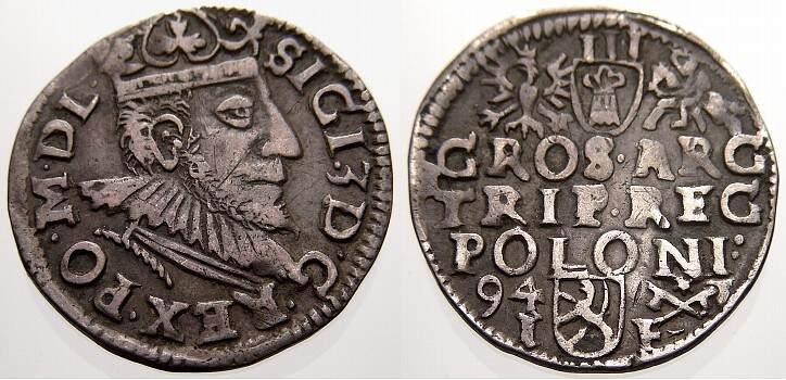 3 Gröscher 1594 I Polen Sigismund III. 1587-1632. Sehr selten. Sehr schön+ mit schöner Patina
