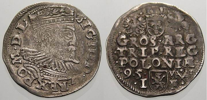 3 Gröscher 1 1595 I Polen Sigismund III. 1587-1632. Selten. Sehr schön+