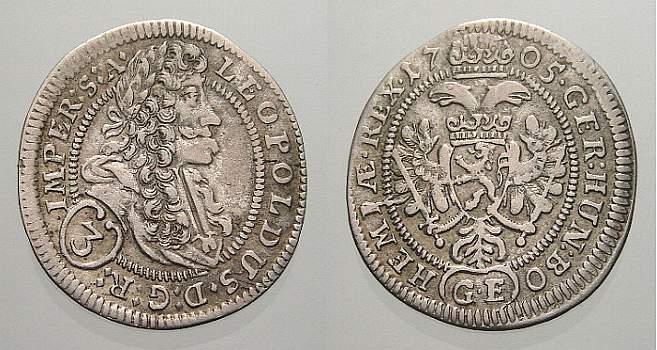 3 Kreuzer (Groschen) 1705 GE Haus Habsburg Leopold I. 1658-1705. Sehr seltener letzter Jahrgang. Sehr schön-vorzüglich