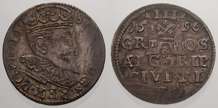 3 Gröscher 1 1596 Riga, Stadt Sigismund III. 1587-1632. Kl. Schrötlingsfehler, sehr schön+ mit schöner Patina