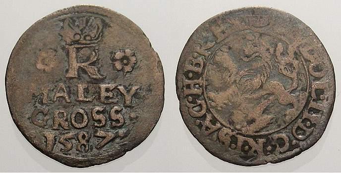 Maleygroschen 1587 Böhmen Rudolf II, 1576-1612. Fast sehr schön