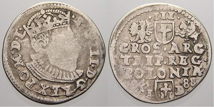 3 Gröscher 1 1588 Polen Sigismund III. 1587-1632. Sehr selten. Schön-sehr schön