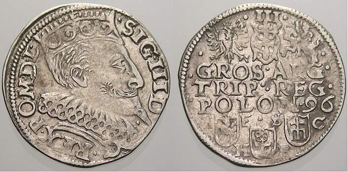 3 Gröscher 1587-1632 Polen Sigismund III. 1587-1632. Vorzüglich