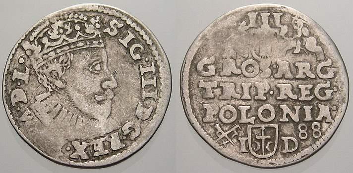3 Gröscher. 1 1588 I Polen Sigismund III. 1587-1632. Selten. Sehr schön