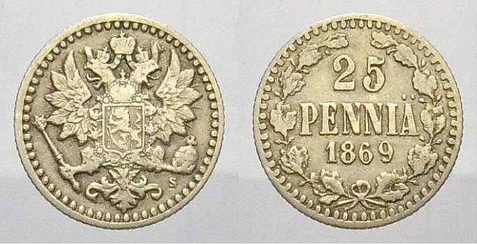 25 Penniä 1 1869 Russland Zar Alexander II. 1855-1881. Sehr schön