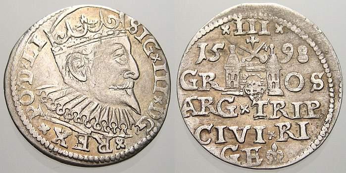3 Gröscher 1 1598 Riga, Stadt Sigismund III. 1587-1632. Leicht dezentriert, sehr schön-vorzüglich