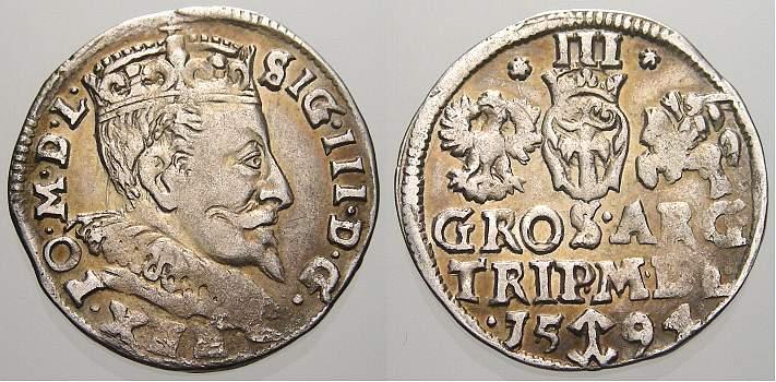 3 Gröscher 1 1594 Polen-Litauen Sigismund III. 1587-1632. Winz. Prägeschwäche, sehr schön-vorzüglich