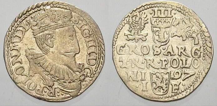 3 Gröscher 1 1597 IF Polen Sigismund III. 1587-1632. Vorzüglich mit schönem Glanz!
