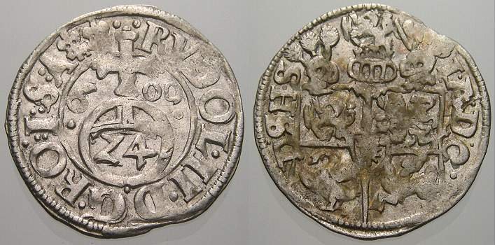 1/24 Taler (Groschen) 1600 Schleswig-Holstein-Gottorp Johann Adolf 1590-1616. Vorzüglich