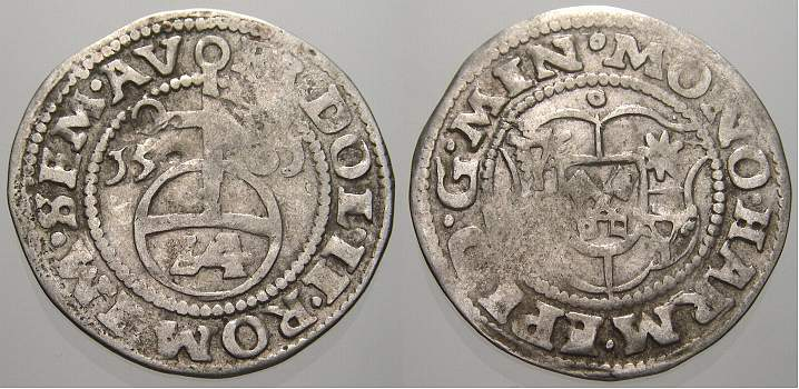1/24 Taler (Groschen) 1581 Minden, Bistum Hermann von Schauenburg 1566-1582. Sehr schön