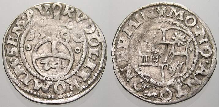 1/24 Taler (Groschen) 1590 MO Minden, Bistum Anton von Schauenburg 1587-1599. Sehr schön+