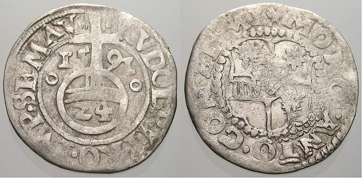 1/24 Taler (Groschen) 1591 Minden, Bistum Anton von Schauenburg 1587-1599. Sehr schön