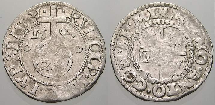 1/24 Taler (Groschen) 1592 Minden, Bistum Anton von Schauenburg 1587-1599. Sehr schön-vorzüglich