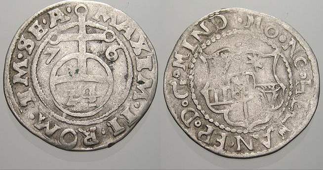 1/24 Taler (Groschen) 1576 Minden, Bistum Hermann von Schauenburg 1566-1582. Sehr selten. Sehr schön