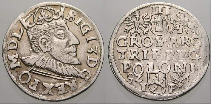 3 Gröscher 1 1592 IF Polen Sigismund III. 1587-1632. Vorzüglich