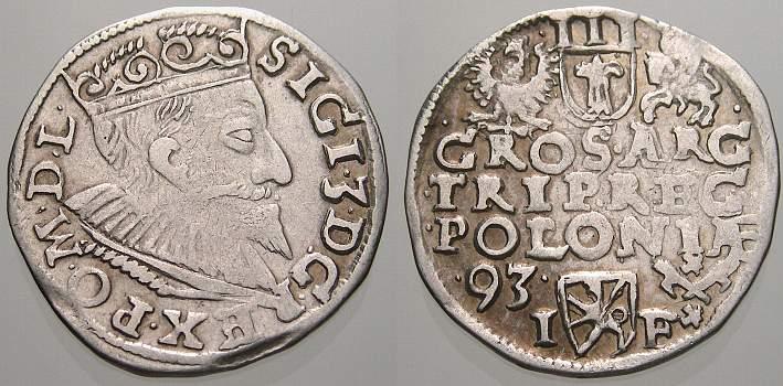 3 Gröscher 1 1593 I Polen Sigismund III. 1587-1632. Sehr schön+