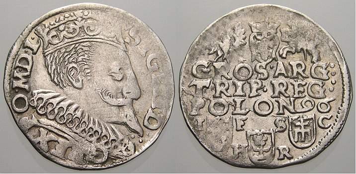 3 Gröscher 1 1596 I Polen Sigismund III. 1587-1632. Kl. Prägeschwäche, sehr schön+