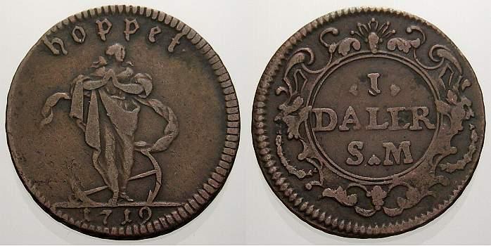 1 Daler Silvermynt 1719 Schweden Karl XII. 1697-1718. Selten. Sehr schön