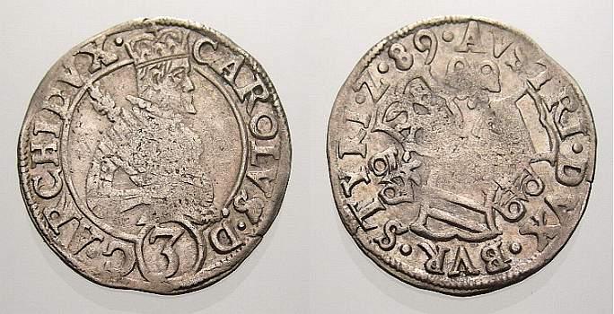 3 Kreuzer 1589 Haus Habsburg Erzherzog Karl 1564-1590. Kl. Prägeschwäche, sehr schön