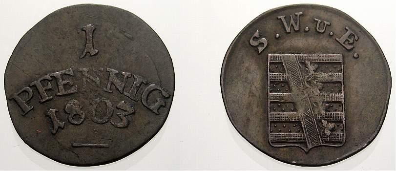 Cu Pfennig 1803 Sachsen-Weimar-Eisenach Carl August 1775-1828. Kl. Schrötlingsfehler, sehr schön-vorzüglich