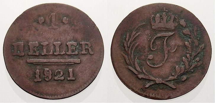 Cu Heller 1821 Sachsen-Hildburghausen Friedrich 1784-1826. Sehr schön+