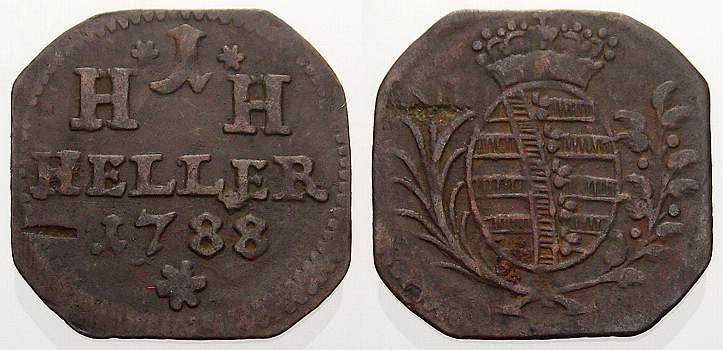Cu Heller 1788 Sachsen-Hildburghausen Friedrich 1784-1826. Sehr schön+