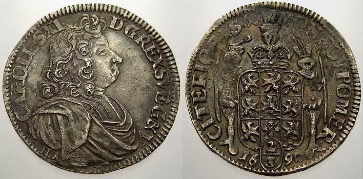 2/3 Taler 1690 Pommern-unter schwedischer Besetzung Karl XI 1660-1697. Kl. Prägeschwäche, fast vorzüglich