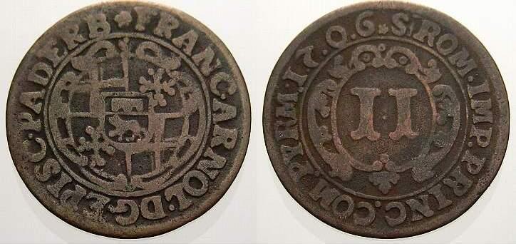 Cu 2 Pfennig 1706 Paderborn, Bistum Franz Arnold von Metternich 1704-1718. Sehr schön
