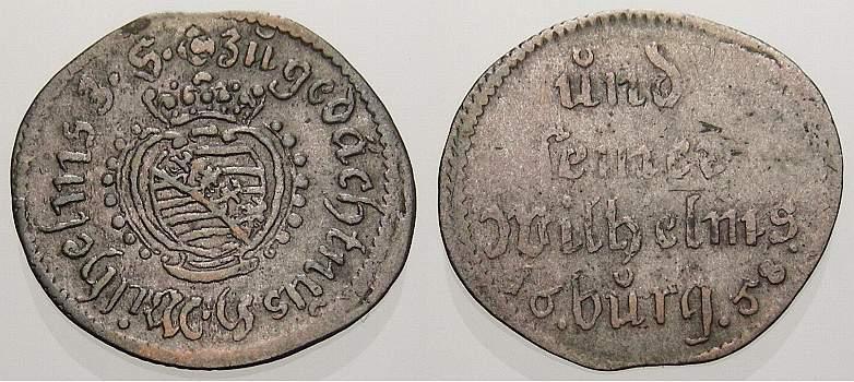 Spruchdreier 1658 Sachsen-Neu-Weimar Wilhelm 1640-1662. Selten. Sehr schön