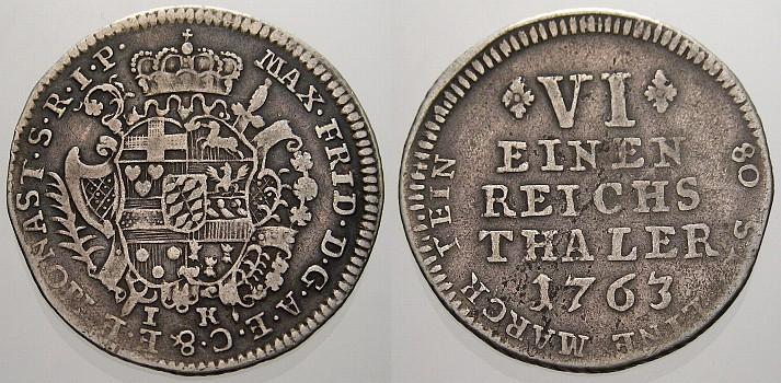 1/6 Taler 1763 IK Münster, Bistum Maximilian Friedrich von Königsegg-Rothenfels 1762-1784. Kl. Prägeschwäche, sehr schön