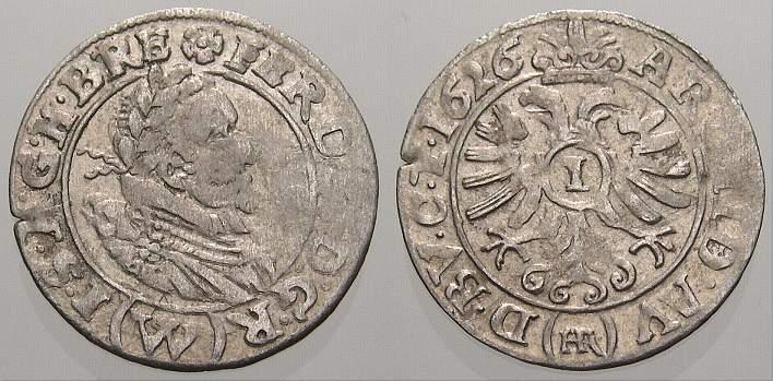 1 Kreuzer 1626 W Schlesien-Der oberste Lehnsherr Ferdinand II. 1619-1637. Kl. Prägeschwäche, sehr schön+