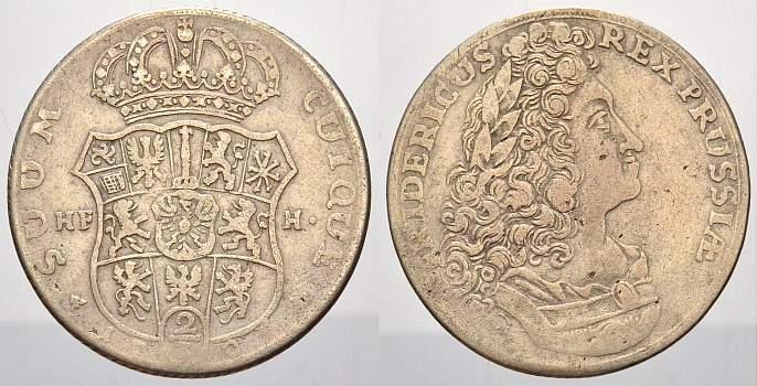 2/3 Taler 1704 HF Brandenburg-Preußen Friedrich I. 1701-1713. Selten. Kl. Prägeschwäche, sehr schön