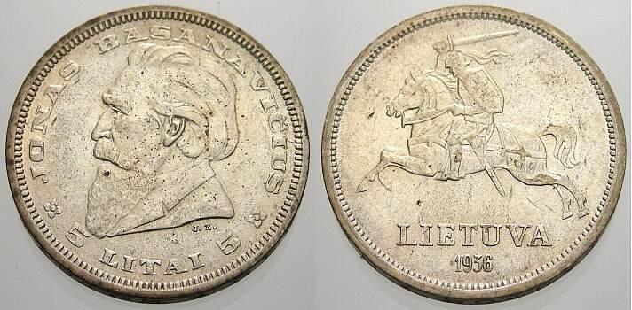 5 Litai 1936 Litauen Republik seit 1991. Fast stempelglanz