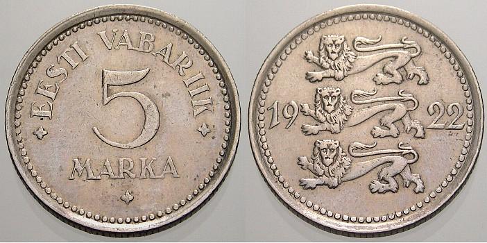 5 Marka 1922 Estland Estnische Republik 1918Heute. Vorzüglich