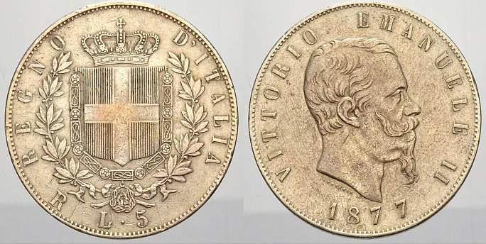 5 Lire 1877 R Italien-Königreich Vittorio Emanuele II 1849-1878. Sehr schön-vorzüglich
