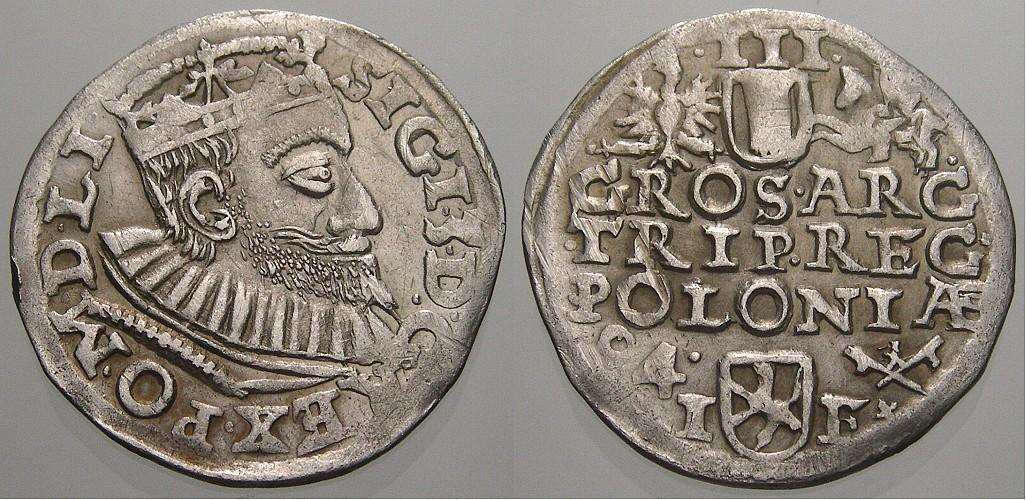 3 Gröscher 1 1594 IF Polen Sigismund III. 1587-1632. Selten. Min. Kratzer, fast vorzüglich