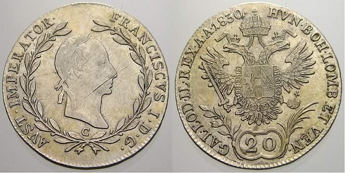 20 Kreuzer 1830 C Haus Habsburg Franz II. (I.) 1792-1835. Leicht justiert, vorzüglich-fast stempelglanz