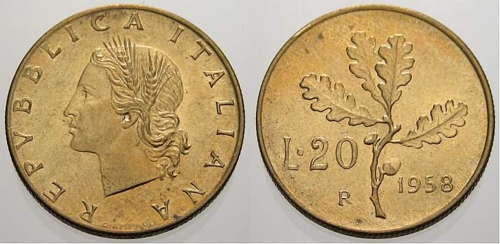 20 Lire 1958 Italien Königreich Republik Seit 1946 Fdc Ma Shops