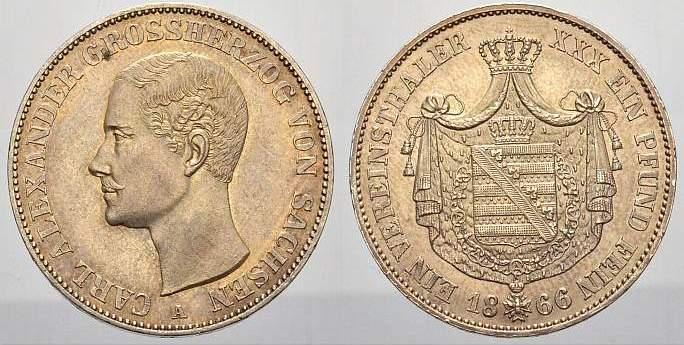 Vereinstaler 1866 A Sachsen-Weimar-Eisenach Carl Alexander 1853-1901. Vorzüglich-stempelglanz