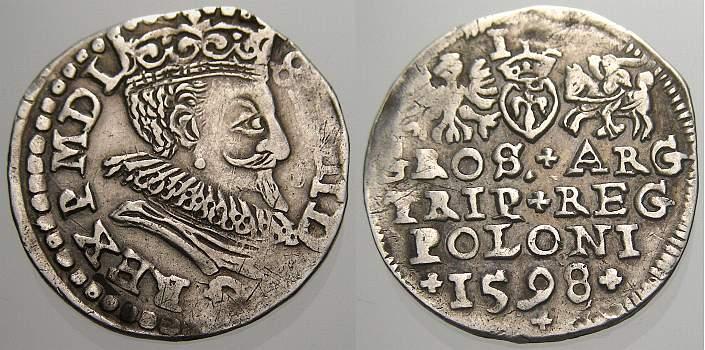 3 Gröscher 1 1598 Polen Sigismund III. 1587-1632. Selten. Kl. Prägeschwäche, sehr schön+