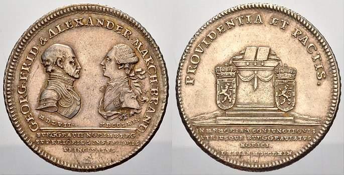 Konventionstaler 1769 Brandenburg-Ansbach Christian Friedrich Karl Alexander 1757-1791. Felder min. bearbeitet, vorzüglich