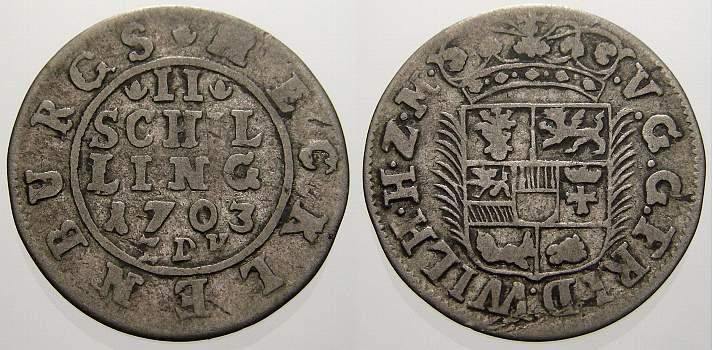 2 Schilling 1703 Mecklenburg-Schwerin Friedrich Wilhelm 1692-1713. Sehr schön