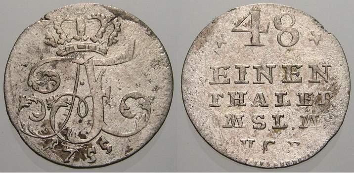 1/48 Taler (Schilling) 1755 Mecklenburg-Strelitz Adolf Friedrich IV. 1752-1794. Winz. Schrötlingsfehler, sehr schön
