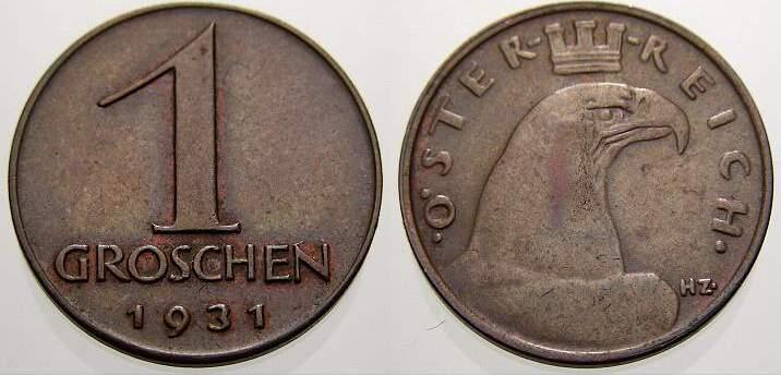 1 Groschen 1931 Österreich Erste Republik 1918-1938. Selten. Vorzüglich