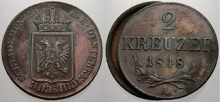 2 Kreuzer (Schraubmünze) 1 1848 Haus Habsburg Prägungen der Revolutionsjahre 1848-1849. Vorzügliches Prachtexemplar