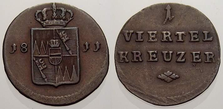 Cu 1/4 Kreuzer 1811 Würzburg, Großherzogtum Ferdinand von Österreich 1806-1814. Sehr schön+