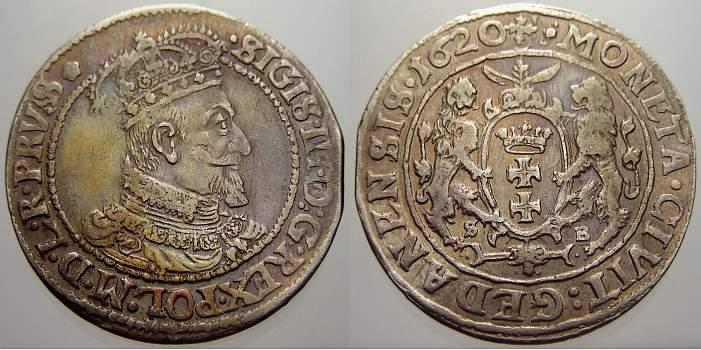 1/4 Taler (Ort) 1620 SB Danzig, Stadt Sigismund III. 1587-1632. Selten. Min. Zainende. Fast vorzüglich