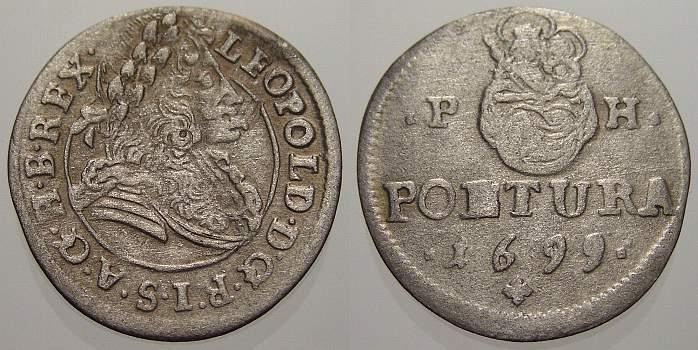 Poltura 1699 PH Haus Habsburg Leopold I. 1658-1705. Sehr schön