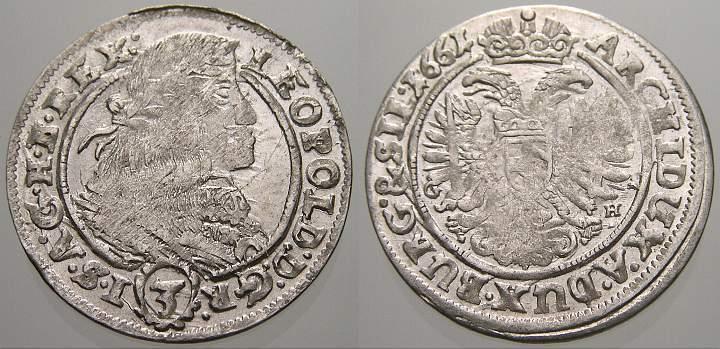 3 Kreuzer 1661 G Schlesien-Der oberste Lehnsherr Leopold 1658-1705. Kl. Schrötlingsfehler, Prägefrisch!